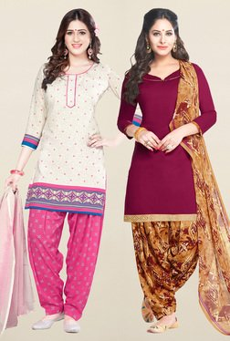 Salwar Studio Cream & Wine Synthetic Unstitched Patiala Suit