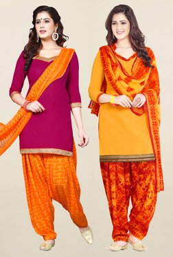 Salwar Studio Pink & Yellow Unstitched Patiala Suit