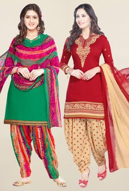 Salwar Studio Green & Red Synthetic Unstitched Patiala Suit