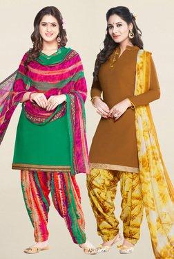 Salwar Studio Green & Brown Unstitched Patiala Suit