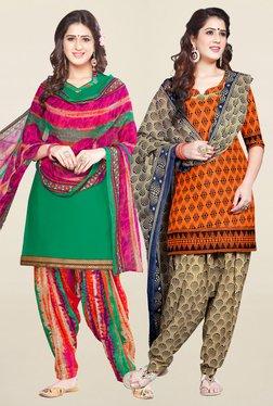 Salwar Studio Green & Orange Unstitched Patiala Suit