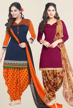 Salwar Studio Navy & Wine Synthetic Unstitched Patiala Suit - Mp000000001242078