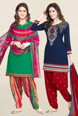 Salwar Studio Green & Navy Synthetic Unstitched Patiala Suit - Mp000000001242092