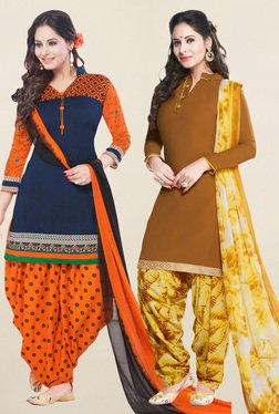 Salwar Studio Navy & Brown Synthetic Unstitched Patiala Suit - Mp000000001242101