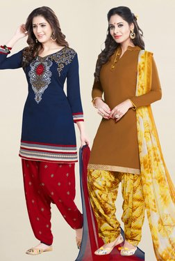 Salwar Studio Navy & Brown Synthetic Unstitched Patiala Suit