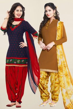 Salwar Studio Navy & Brown Synthetic Unstitched Patiala Suit - Mp000000001242164