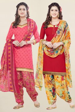 Salwar Studio Coral & Red Synthetic Unstitched Patiala Suit