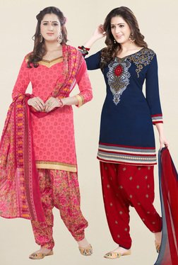 Salwar Studio Coral & Navy Synthetic Unstitched Patiala Suit