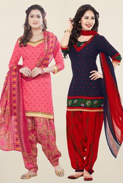 Salwar Studio Coral & Navy Synthetic Unstitched Patiala Suit - Mp000000001242207