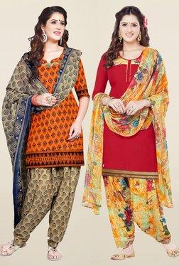 Salwar Studio Orange & Red Synthetic Unstitched Patiala Suit