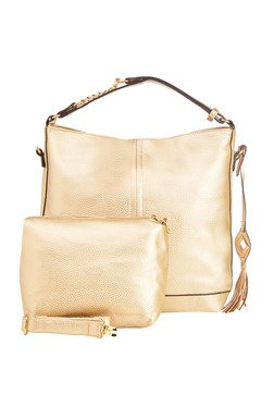 Vero Couture Golden Side Fringe Shoulder Bag With Pouch