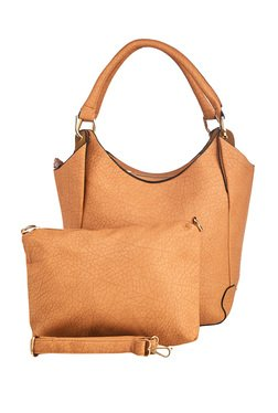 Vero Couture Light Brown Textured Shoulder Bag With Pouch
