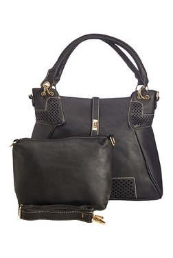 Vero Couture Black Textured Shoulder Bag With Pouch