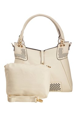 Vero Couture Off-White Textured Shoulder Bag With Pouch