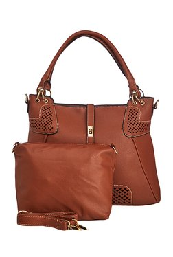 Vero Couture Brown Textured Shoulder Bag With Pouch