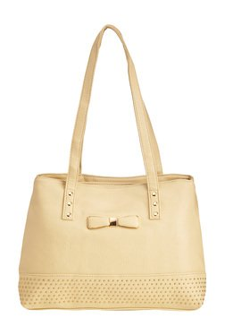 Vero Couture Cream Riveted Shoulder Bag