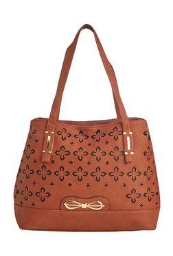 Vero Couture Brown Laser Cut Shoulder Bag
