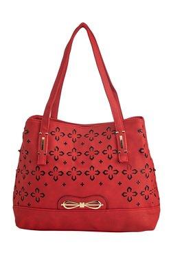 Vero Couture Red Laser Cut Shoulder Bag