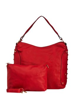 Vero Couture Red Studded Shoulder Bag With Pouch