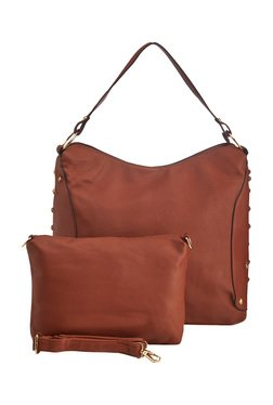 Vero Couture Brown Studded Shoulder Bag With Pouch