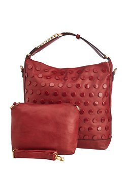 Vero Couture Maroon Studded Shoulder Bag With Pouch
