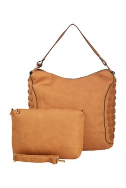 Vero Couture Beige Riveted Shoulder Bag With Pouch