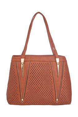 Vero Couture Dark Brown Perforated Shoulder Bag