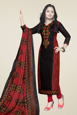 Ishin Black & Red Cotton Printed Dress Material