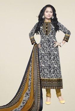 Ishin Black & White Cotton Printed Dress Material