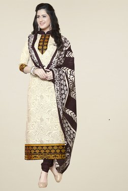 Ishin Cream & Brown Cotton Printed Dress Material