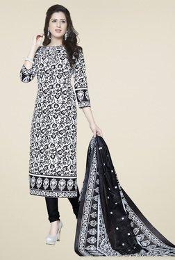 Ishin White & Black Cotton Printed Dress Material