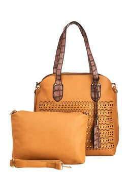 Vero Couture Camel Brown Laser Cut Shoulder Bag With Pouch