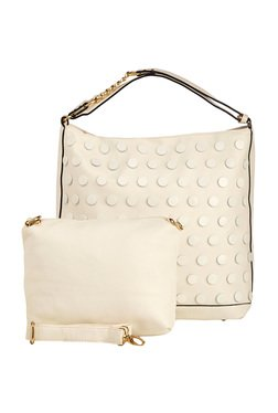 Vero Couture Off-White Studded Shoulder Bag With Pouch