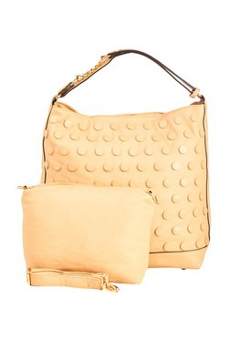 Vero Couture Cream Studded Shoulder Bag With Pouch