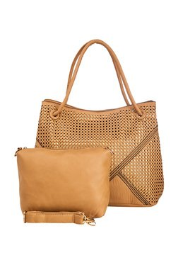 Vero Couture Brown Laser Cut Shoulder Bag With Pouch