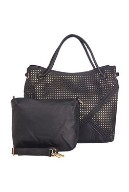 Vero Couture Black Laser Cut Shoulder Bag With Pouch