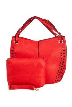 Vero Couture Tomato Red Studded Shoulder Bag With Pouch