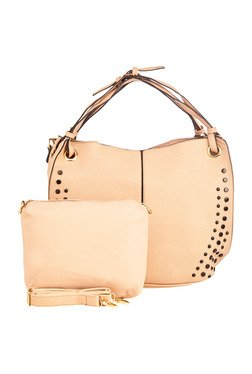 Vero Couture Beige Studded Shoulder Bag With Pouch