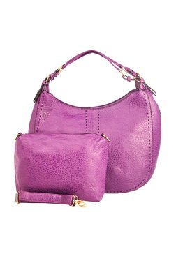 Vero Couture Purple Textured Hobo Bag With Pouch