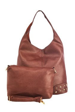 Vero Couture Dark Brown Embellished Hobo Bag With Pouch