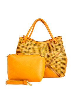 Vero Couture Ochre Laser Cut Shoulder Bag With Pouch