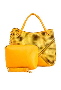 Vero Couture Yellow Laser Cut Shoulder Bag With Pouch