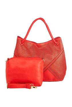 Vero Couture Tomato Red Laser Cut Shoulder Bag With Pouch
