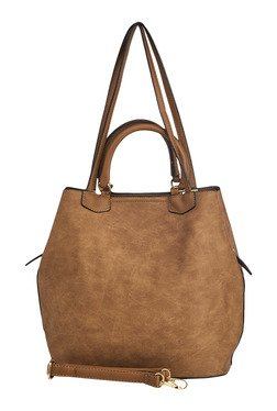 Vero Couture Brown Distressed Shoulder Bag With Pouch