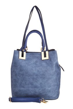 Vero Couture Blue Distressed Shoulder Bag With Pouch