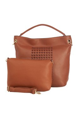 Vero Couture Brown Embellished Shoulder Bag With Pouch