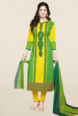 Salwar Studio Yellow & Green Printed Cotton Dress Material