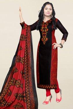 Salwar Studio Black & Red Printed Cotton Dress Material