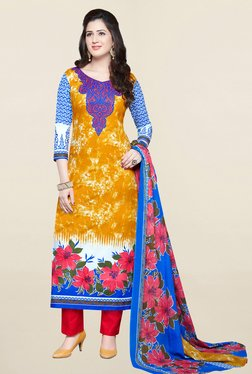 Salwar Studio Yellow & Pink Printed Cotton Dress Material