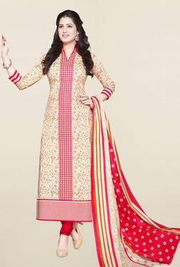 Salwar Studio Beige & Red Printed Cotton Dress Material